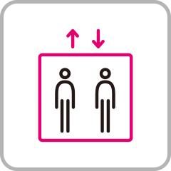 エレベーターの人数制限をおこなっています
